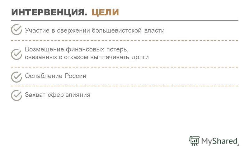 ИНТЕРВЕНЦИЯ. ЦЕЛИ 4 Участие в свержении большевистской власти Возмещение финансовых потерь, связанных с отказом выплачивать долги Ослабление России Захват сфер влияния