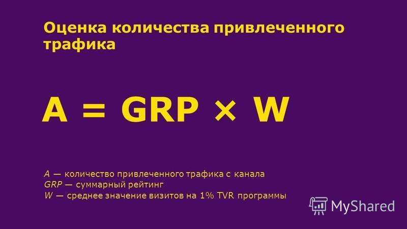 A количество привлеченного трафика с канала GRP суммарный рейтинг W среднее значение визитов на 1% TVR программы Оценка количества привлеченного трафика A = GRP ×W