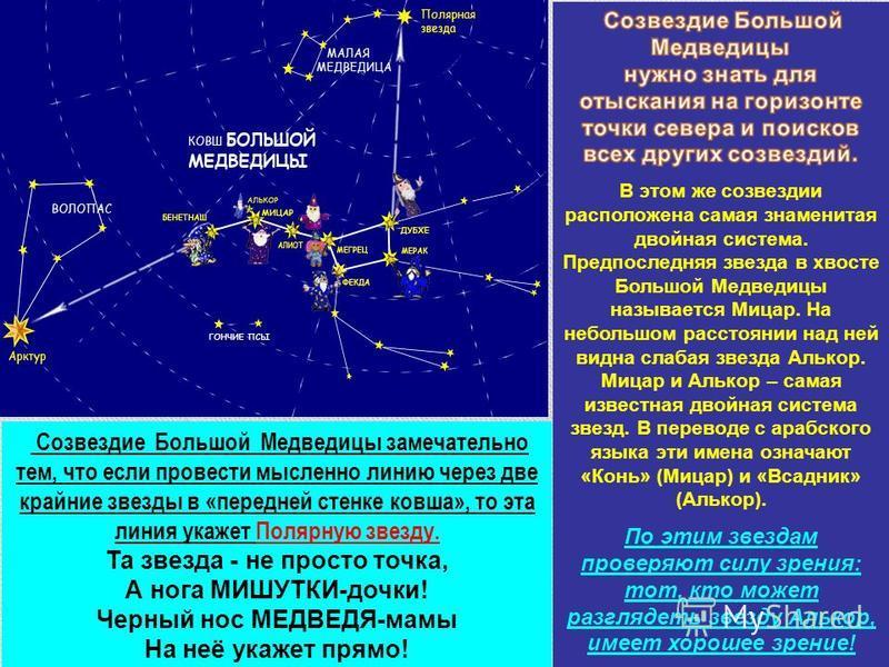 Созвездие Большой Медведицы замечательно тем, что если провести мысленно линию через две крайние звезды в «передней стенке ковша», то эта линия укажет Полярную звезду. Та звезда - не просто точка, А нога МИШУТКИ-дочки! Черный нос МЕДВЕДЯ-мамы На неё