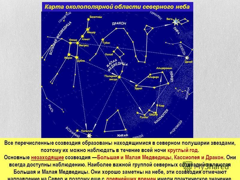 Карта околополярной области северного неба Все перечисленные созвездия образованы находящимися в северном полушарии звездами, поэтому их можно наблюдать в течение всей ночи круглый год. Основные незаходящие созвездия Большая и Малая Медведицы, Кассио