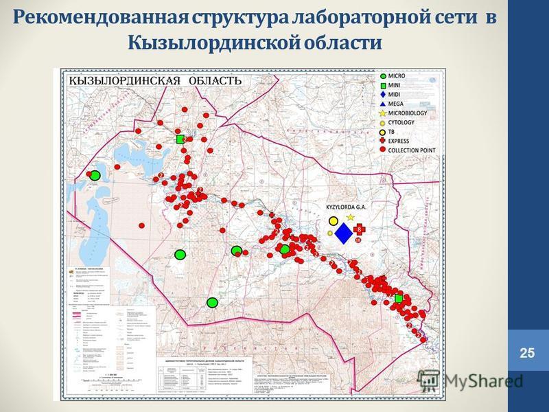 Рекомендованная структура лабораторной сети в Кызылординской области 25