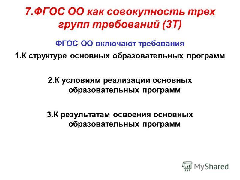 7. ФГОС ОО как совокупность трех групп требований (3Т) ФГОС ОО включают требования 1. К структуре основных образовательных программ 2. К условиям реализации основных образовательных программ 3. К результатам освоения основных образовательных программ