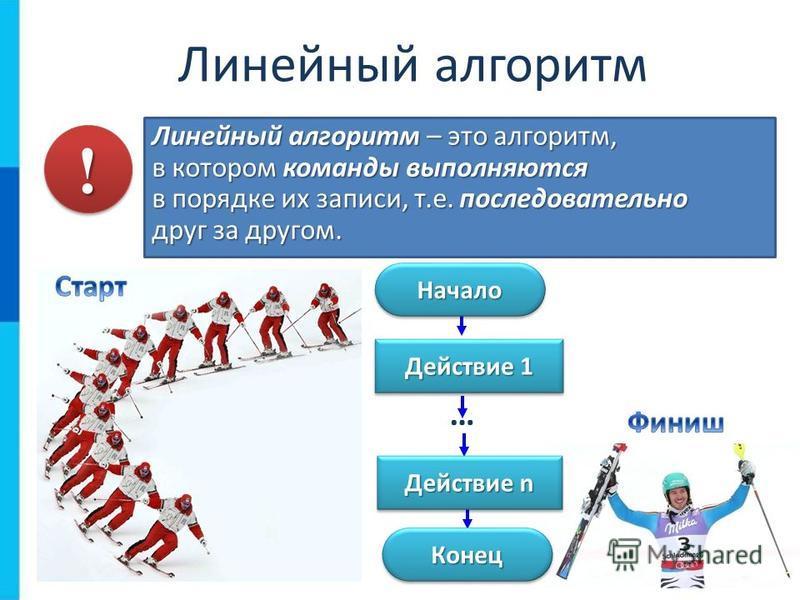 Линейный алгоритм Линейный алгоритм – это алгоритм, в котором команды выполняются в порядке их записи, т.е. последовательно друг за другом. Начало Начало Конец Конец Действие 1 Действие n … !!