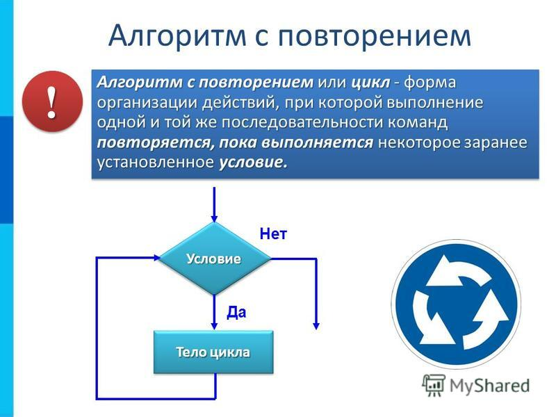 Алгоритм с повторением Алгоритм с повторением или цикл - форма организации действий, при которой выполнение одной и той же последовательности команд повторяется, пока выполняется некоторое заранее установленное условие. Условие Условие Тело цикла Да