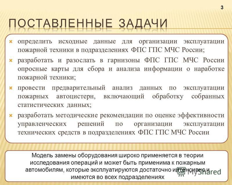 определить исходные данные для организации эксплуатации пожарной техники в подразделениях ФПС ГПС МЧС России; разработать и разослать в гарнизоны ФПС ГПС МЧС России опросные карты для сбора и анализа информации о наработке пожарной техники; провести