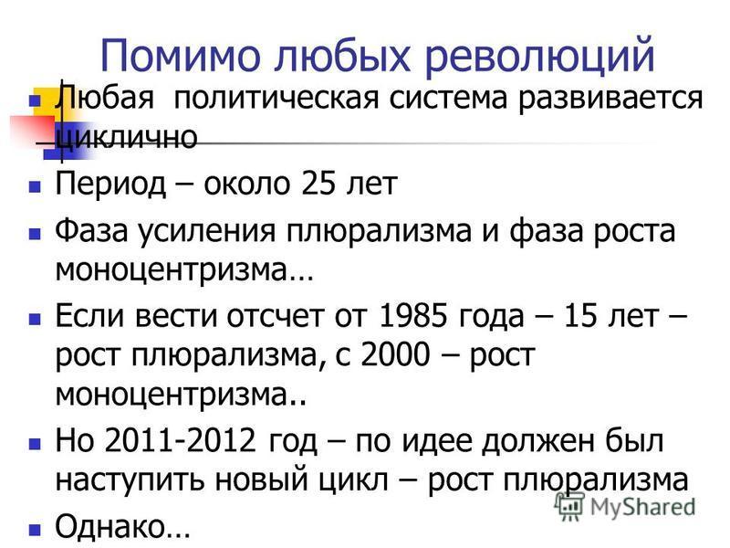 Если исходить из понятия «революция» – как глубокое преобразование общества и государства – То вслед за глубокими преобразованиями наступает «откатная волна», или период термидора. Князь Горчаков о России периода Александра III: «Россия сосредотачива