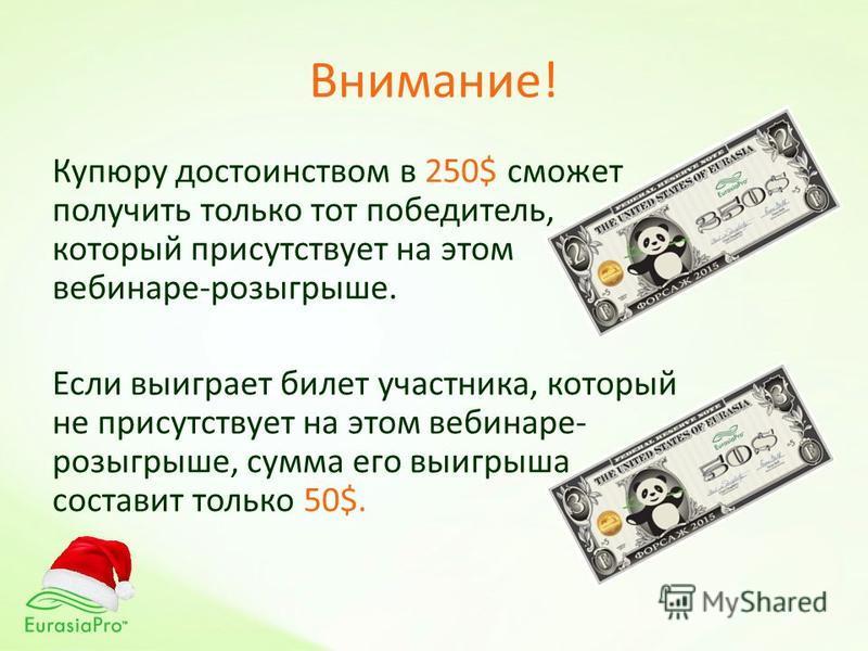 Внимание! Купюру достоинством в 250$ сможет получить только тот победитель, который присутствует на этом вебинаре-розыгрыше. Если выиграет билет участника, который не присутствует на этом вебинаре- розыгрыше, сумма его выигрыша составит только 50$.
