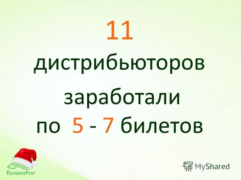 11 дистрибьюторов заработали по 5 - 7 билетов