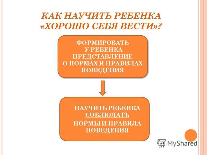 КАК НАУЧИТЬ РЕБЕНКА «ХОРОШО СЕБЯ ВЕСТИ»? ФОРМИРОВАТЬ У РЕБЕНКА ПРЕДСТАВЛЕНИЕ О НОРМАХ И ПРАВИЛАХ ПОВЕДЕНИЯ ФОРМИРОВАТЬ У РЕБЕНКА ПРЕДСТАВЛЕНИЕ О НОРМАХ И ПРАВИЛАХ ПОВЕДЕНИЯ НАУЧИТЬ РЕБЕНКА СОБЛЮДАТЬ НОРМЫ И ПРАВИЛА ПОВЕДЕНИЯ