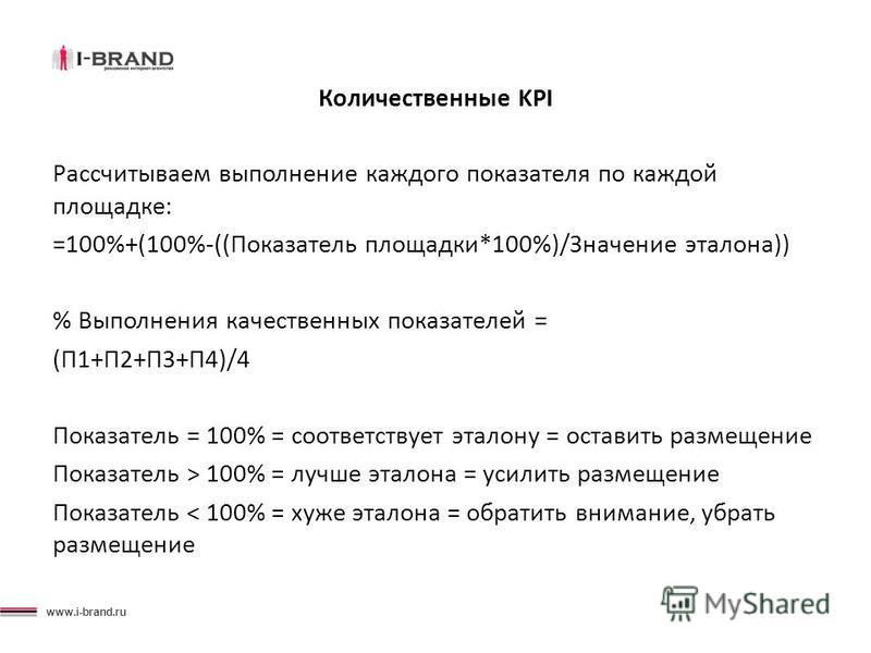 www.i-brand.ru Количественные KPI Рассчитываем выполнение каждого показателя по каждой площадке: =100%+(100%-((Показатель площадки*100%)/Значение эталона)) % Выполнения качественных показателей = (П1+П2+П3+П4)/4 Показатель = 100% = соответствует этал