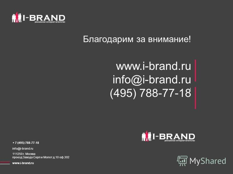 Благодарим за внимание! www.i-brand.ru info@i-brand.ru (495) 788-77-18 + 7 (495) 788-77-18 info@i-brand.ru 111250 г. Москва проезд Завода Серп и Молот д.10 оф.302 www.i-brand.ru !