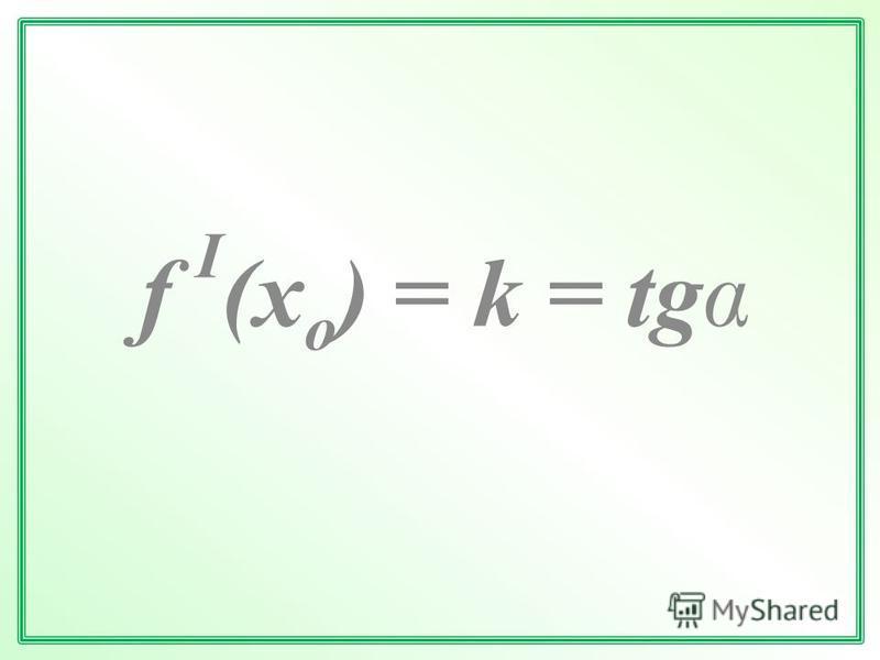f I (x o ) = k = tg