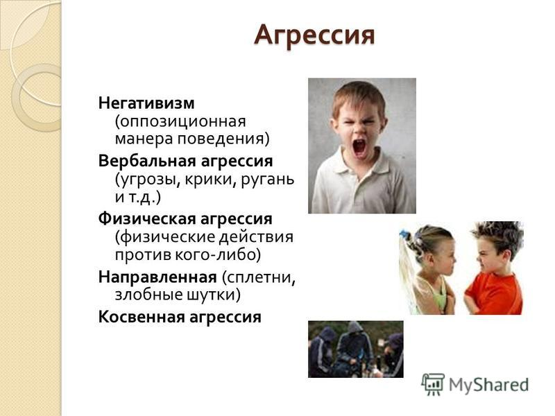Агрессия Агрессия Негативизм ( оппозиционная манера поведения ) Вербальная агрессия ( угрозы, крики, ругань и т. д.) Физическая агрессия ( физические действия против кого - либо ) Направленная ( сплетни, злобные шутки ) Косвенная агрессия