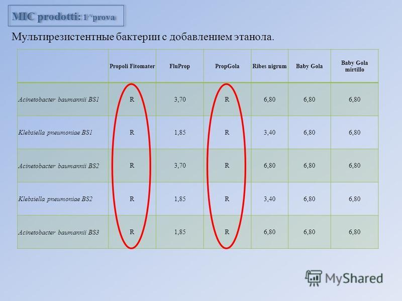 Propoli FitomaterFluPropPropGolaRibes nigrumBaby Gola Baby Gola mirtillo Acinetobacter baumannii BS1 R3,70R6,80 Klebsiella pneumoniae BS1 R1,85R3,406,80 Acinetobacter baumannii BS2 R3,70R6,80 Klebsiella pneumoniae BS2 R1,85R3,406,80 Acinetobacter bau