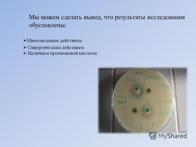Мы можем сделать вывод, что результаты исследования обусловлены : Синергическим действием Наличием пропионовой кислоты Многоцелевым действием