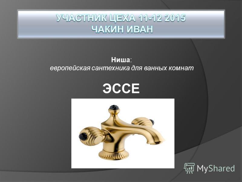 Ниша: европейская сантехника для ванных комнат ЭССЕ