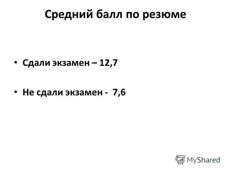 Средний балл по резюме Сдали экзамен – 12,7 Не сдали экзамен - 7,6