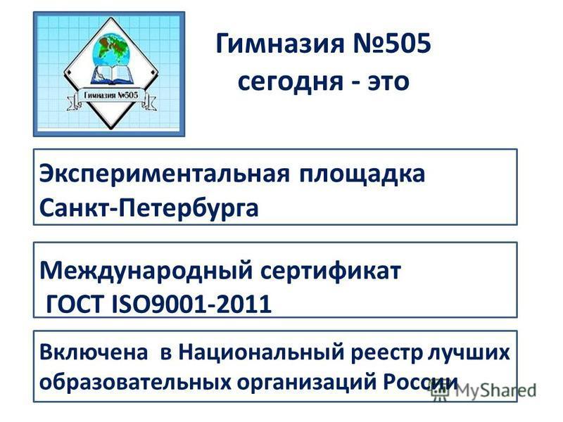 Включена в Национальный реестр лучших образовательных организаций России Гимназия 505 сегодня - это Международный сертификат ГОСТ ISO9001-2011 Экспериментальная площадка Санкт-Петербурга