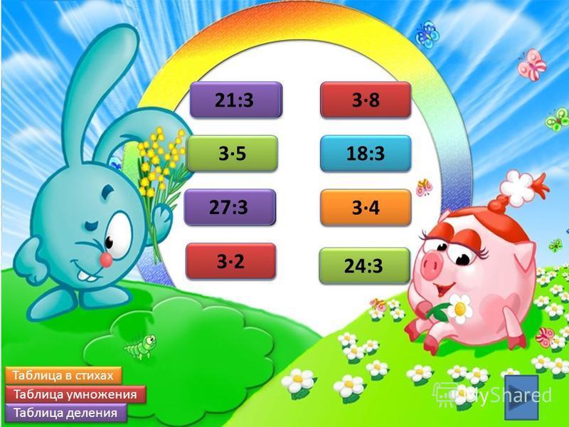 6 6 32 15 35 12 34 24 38 7 7 21:3 8 8 24:3 9 9 27:3 6 6 18:3 Таблица в стихах Таблица умножения Таблица деления