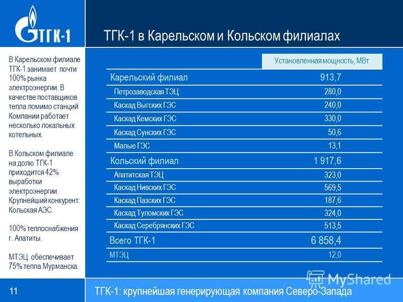 11 В Карельском филиале ТГК-1 занимает почти 100% рынка электроэнергии. В качестве поставщиков тепла помимо станций Компании работает несколько локальных котельных. В Кольском филиале на долю ТГК-1 приходится 42% выработки электроэнергии. Крупнейший