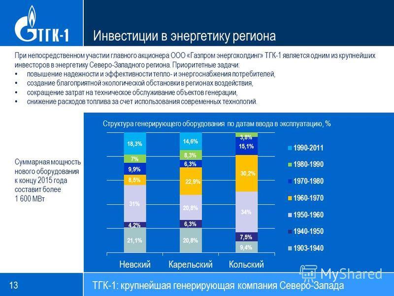 ТГК-1: крупнейшая генерирующая компания Северо-Запада Инвестиции в энергетику региона При непосредственном участии главного акционера ООО «Газпром энергохолдинг» ТГК-1 является одним из крупнейших инвесторов в энергетику Северо-Западного региона. При