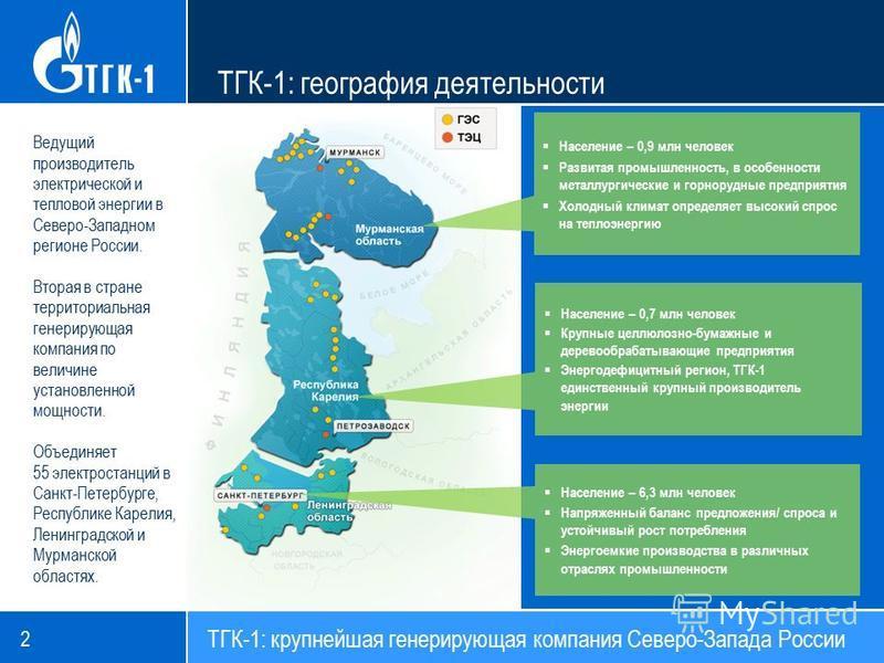 Ведущий производитель электрической и тепловой энергии в Северо-Западном регионе России. Вторая в стране территориальная генерирующая компания по величине установленной мощности. Объединяет 55 электростанций в Санкт-Петербурге, Республике Карелия, Ле