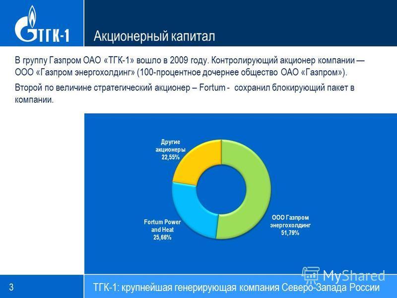 Акционерный капитал 3 ТГК-1: крупнейшая генерирующая компания Северо-Запада России В группу Газпром ОАО «ТГК-1» вошло в 2009 году. Контролирующий акционер компании ООО «Газпром энергохолдинг» (100-процентное дочернее общество ОАО «Газпром»). Второй п