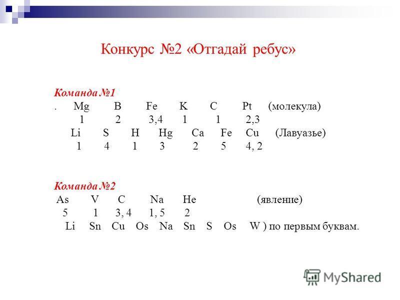 Конкурс 2 «Отгадай ребус» Команда 1. Mg B Fe K C Pt (молекула) 1 2 3,4 1 1 2,3 Li S H Hg Ca Fe Cu (Лавуазье) 1 4 1 3 2 5 4, 2 Команда 2 As V C Na He (явление) 5 1 3, 4 1, 5 2 Li Sn Cu Os Na Sn S Os W ) по первым буквам.
