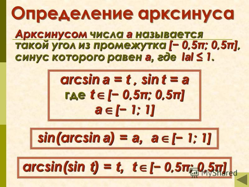 Определение арксинуса Арксинусом числа а называется такой угол из промежутка [ 0,5π; 0,5π], синус которого равен а, где l l l lаl 1. arcsin a = t, sin t = a где t [ 0,5π; 0,5π] а [ 1; 1] sin(arcsin a) = a, а [ 1; 1] arcsin(sin t) = t, t [ 0,5π; 0,5π]