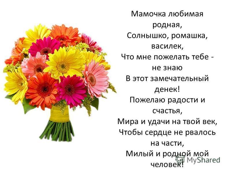 Мамочка любимая родная, Солнышко, ромашка, василек, Что мне пожелать тебе - не знаю В этот замечательный денек! Пожелаю радости и счастья, Мира и удачи на твой век, Чтобы сердце не рвалось на части, Милый и родной мой человек!