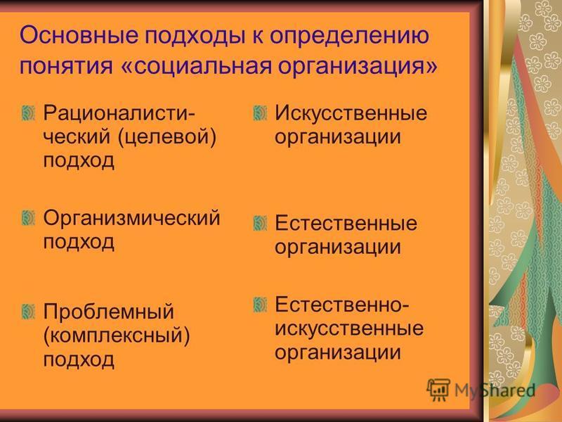 Основные подходы к определению понятия «социальная организация» Рационалисти- ческий (целевой) подход Организмический подход Проблемный (комплексный) подход Искусственные организации Естественные организации Естественно- искусственные организации