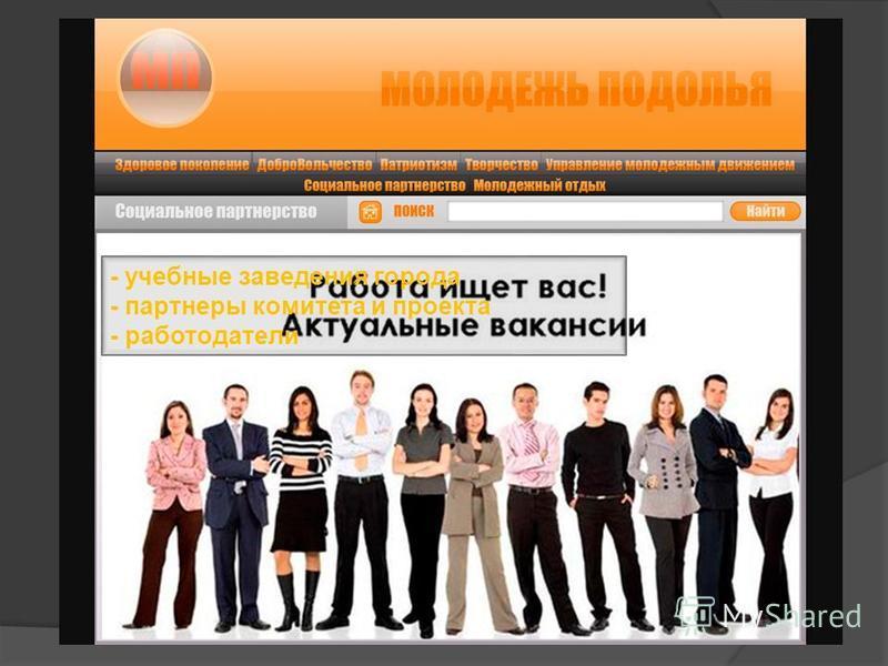 - учебные заведения города - партнеры комитета и проекта - работодатели