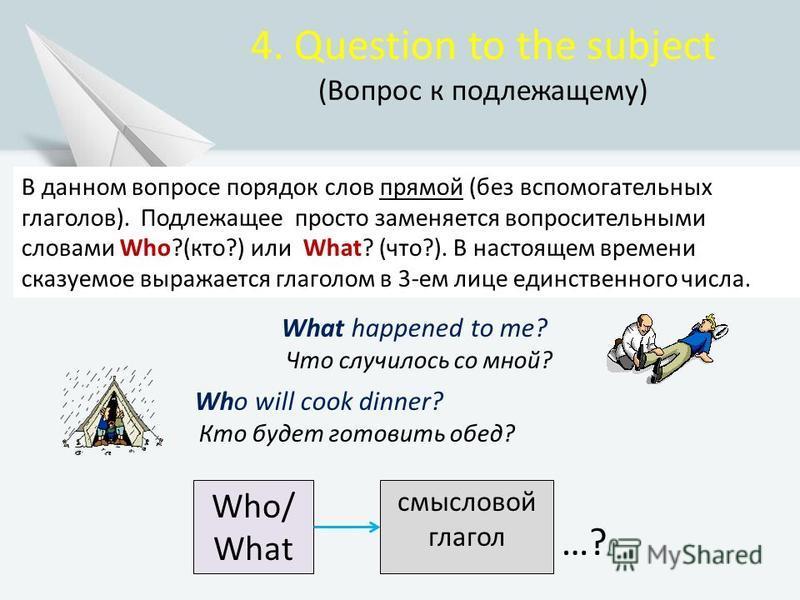 4. Question to the subject (Вопрос к подлежащему) В данном вопросе порядок слов прямой (без вспомогательных глаголов). Подлежащее просто заменяется вопросительными словами Who?(кто?) или What? (что?). В настоящем времени сказуемое выражается глаголом