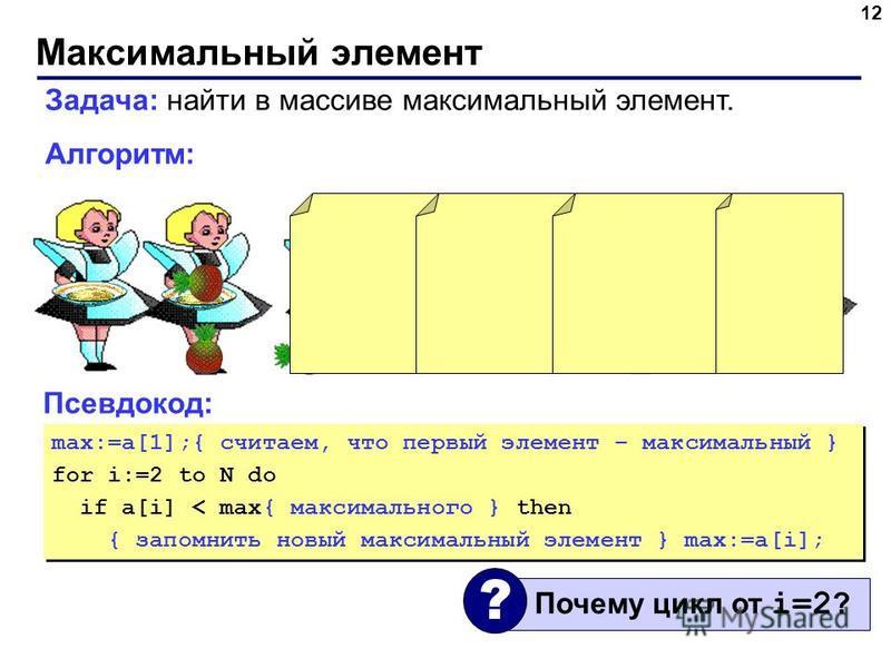 Максимальный элемент 12 Задача: найти в массиве максимальный элемент. Алгоритм: Псевдокод: max:=a[1];{ считаем, что первый элемент – максимальный } for i:=2 to N do if a[i] < max{ максимального } then { запомнить новый максимальный элемент } max:=a[i