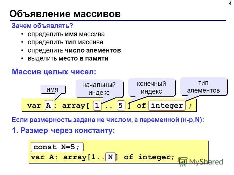 Объявление массивов 4 Зачем объявлять? определить имя массива определить тип массива определить число элементов выделить место в памяти Массив целых чисел: Если размерность задана не числом, а переменной (н-р,N): 1. Размер через константу: имя началь