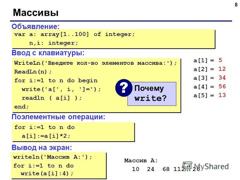 8 Массивы Объявление: Ввод с клавиатуры: Поэлементные операции: Вывод на экран: var a: array[1..100] of integer; n,i: integer; var a: array[1..100] of integer; n,i: integer; WriteLn( 'Введите кол-во элементов массива:' ); ReadLn(n); for i:=1 to n do