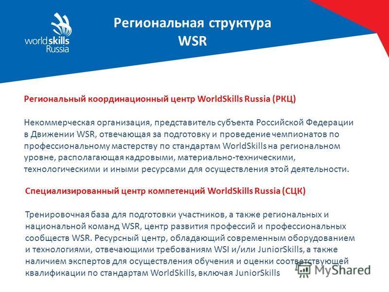 Региональная структура WSR Региональный координационный центр WorldSkills Russia (РКЦ) Некоммерческая организация, представитель субъекта Российской Федерации в Движении WSR, отвечающая за подготовку и проведение чемпионатов по профессиональному маст