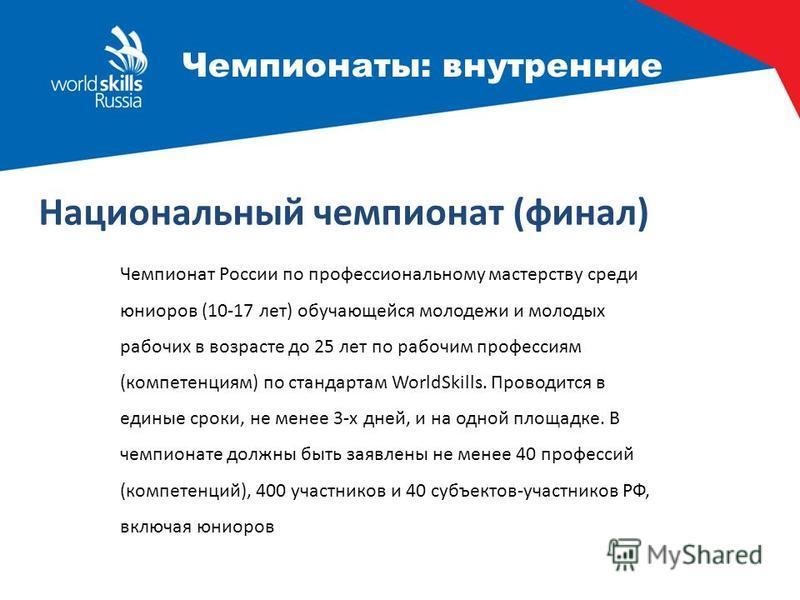 Чемпионаты: внутренние Чемпионат России по профессиональному мастерству среди юниоров (10-17 лет) обучающейся молодежи и молодых рабочих в возрасте до 25 лет по рабочим профессиям (компетенциям) по стандартам WorldSkills. Проводится в единые сроки, н