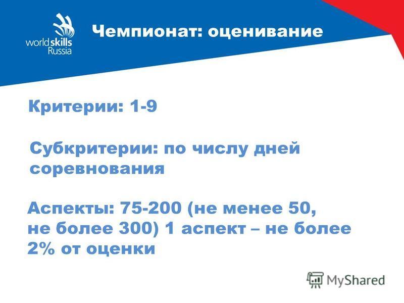 Чемпионат: оценивание Критерии: 1-9 Аспекты: 75-200 (не менее 50, не более 300) 1 аспект – не более 2% от оценки Субкритерии: по числу дней соревнования