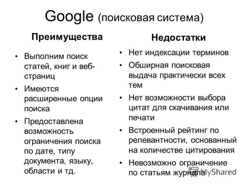 Google (поисковая система) Преимущества Выполним поиск статей, книг и веб- страниц Имеются расширенные опции поиска Предоставлена возможность ограничения поиска по дате, типу документа, языку, области и тд. Недостатки Нет индексации терминов Обширная