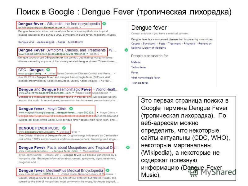 Поиск в Google : Dengue Fever (тропическая лихорадка) Это первая страница поиска в Google термина Dengue Fever (тропическая лихорадка). По веб-адресам можно определить, что некоторые сайты актуальны (CDC, WHO), некоторые маргинальны (Wikipedia), а не