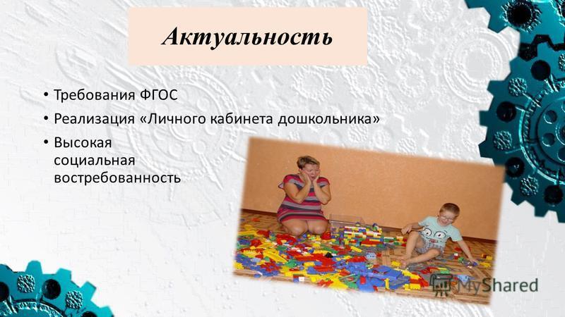 Актуальность Требования ФГОС Реализация «Личного кабинета дошкольника» Высокая социальная востребованность