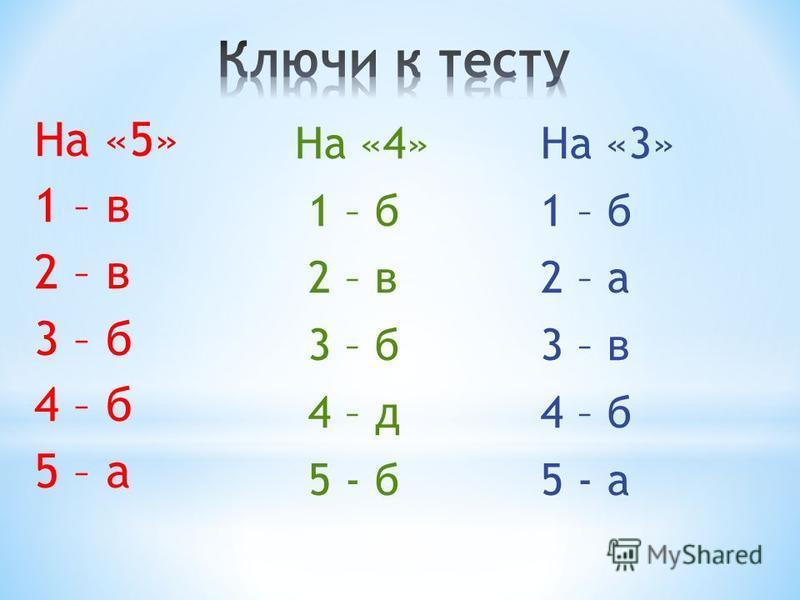 На «5» 1 – в 2 – в 3 – б 4 – б 5 – а На «4» 1 – б 2 – в 3 – б 4 – д 5 - б На «3» 1 – б 2 – а 3 – в 4 – б 5 - а
