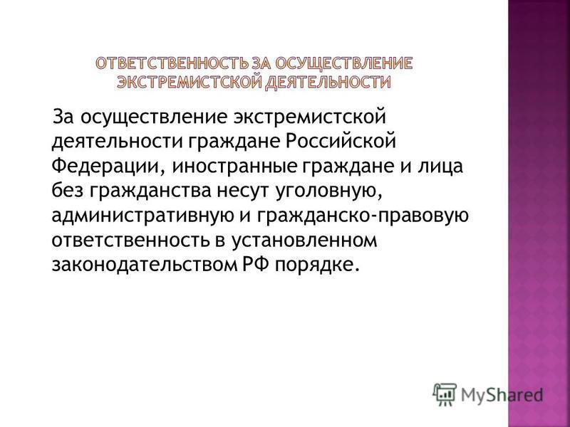 За осуществление экстремистской деятельности граждане Российской Федерации, иностранные граждане и лица без гражданства несут уголовную, административную и гражданско-правовую ответственность в установленном законодательством РФ порядке.