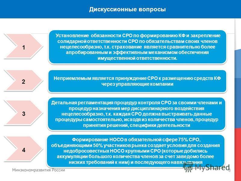 8 Дискуссионные вопросы Установление обязанности СРО по формированию КФ и закрепление солидарной ответственности СРО по обязательствам своих членов нецелесообразно, т.к. страхование является сравнительно более апробированным и эффективным механизмом