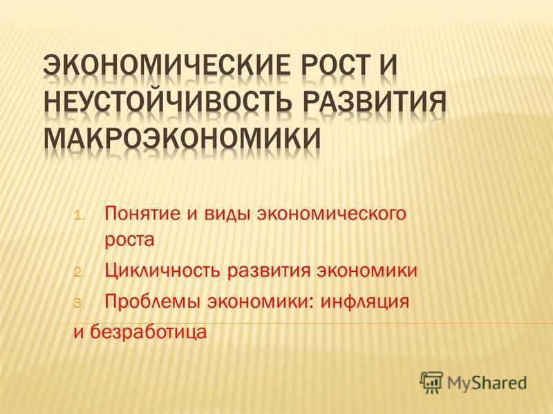 1. Понятие и виды экономического роста 2. Цикличность развития экономики 3. Проблемы экономики: инфляция и безработица