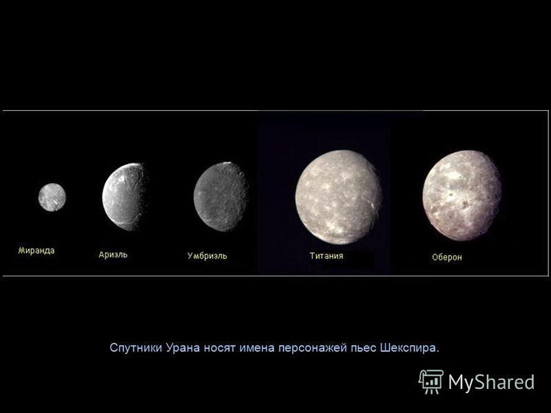 Спутники Урана носят имена персонажей пьес Шекспира.