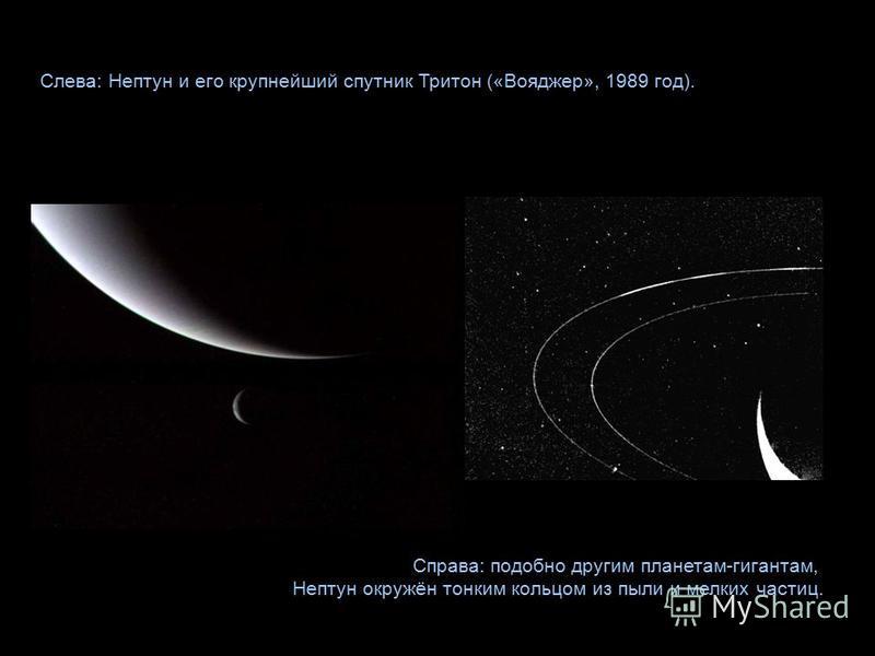 Слева: Нептун и его крупнейший спутник Тритон («Вояджер», 1989 год). Справа: подобно другим планетам-гигантам, Нептун окружён тонким кольцом из пыли и мелких частиц.
