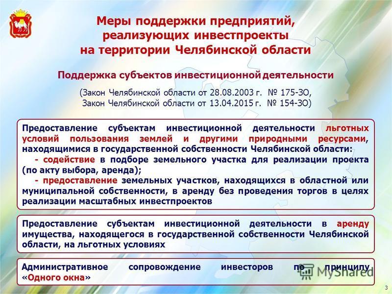 Меры поддержки предприятий, реализующих инвестпроекты на территории Челябинской области Предоставление субъектам инвестиционной деятельности льготных условий пользования землей и другими природными ресурсами, находящимися в государственной собственно