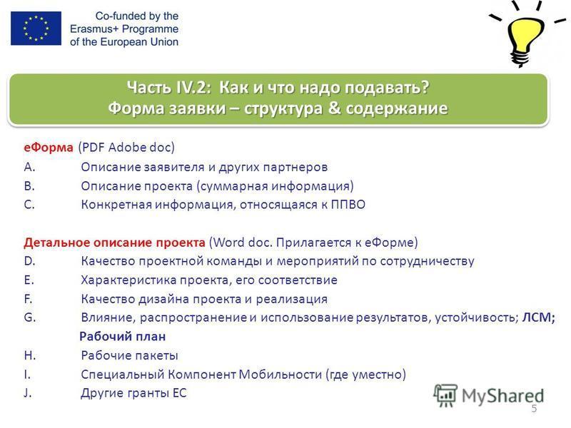 5 e Форма (PDF Adobe doc) A.Описание заявителя и других партнеров B.Описание проекта (суммарная информация) C.Конкретная информация, относящаяся к ППВО Детальное описание проекта (Word doc. Прилагается к e Форме) D.Качество проектной команды и меропр